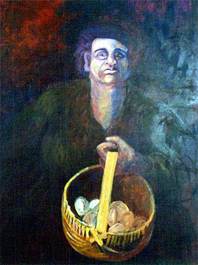 Egg Lady 1985 Acrylic on Canvas 120 x 90 cm