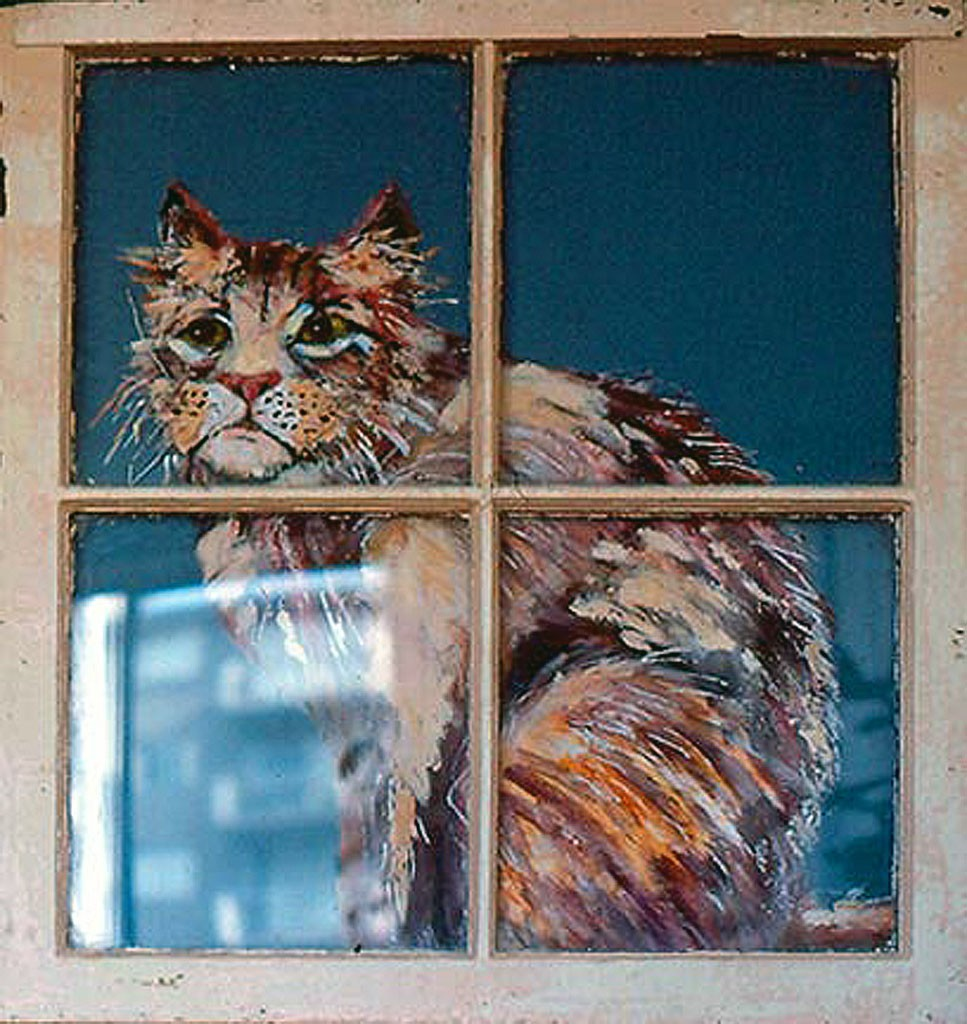 Cat in a Window 1987 Mixed Media 100 x 80 cm