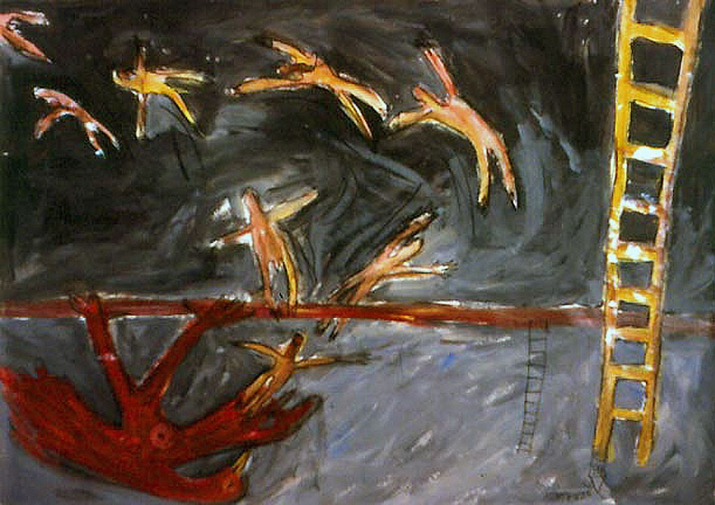 Flying at Night 1989 Mixed Media 110 x 130 cm