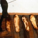 Miles to Go (detail) 1991 Mixed Media 35 bread soles
