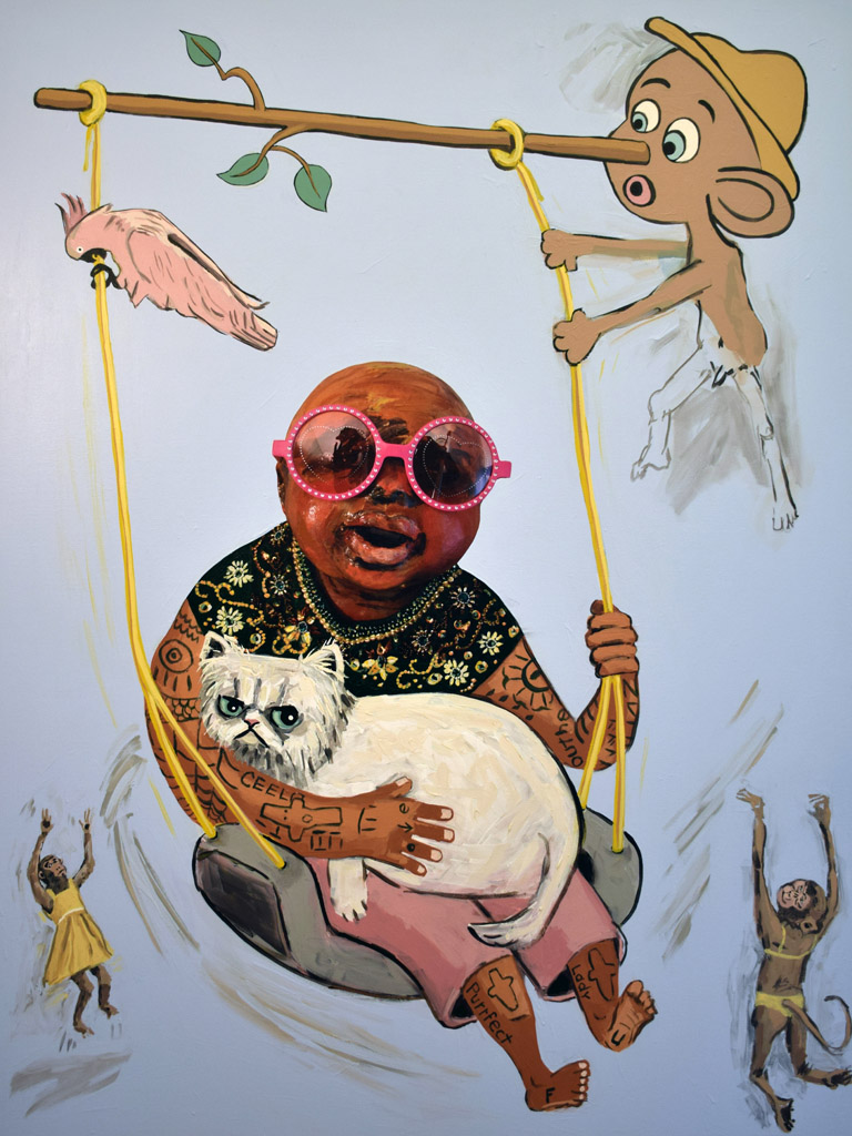# 11 CeeLo's Baby 2017 Acrylic and Collage on Canvas 48 X 36 in.