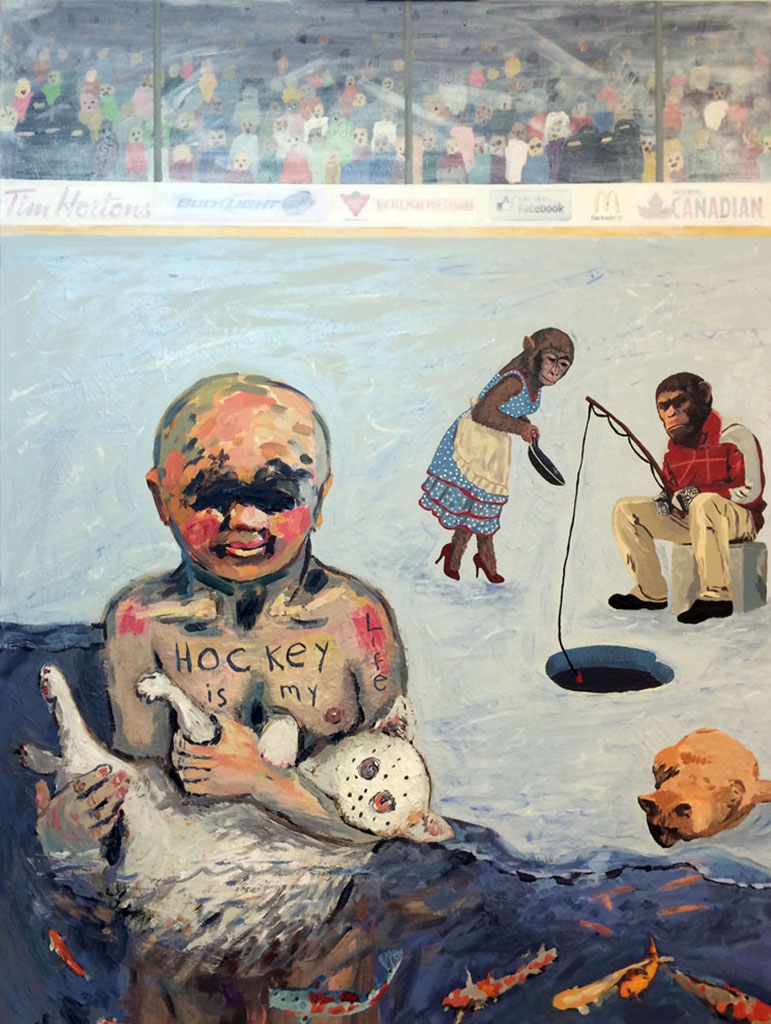 #3 Hockey is my Life 2017 Acrylic & Collage on Canvas 48 x 36 in.